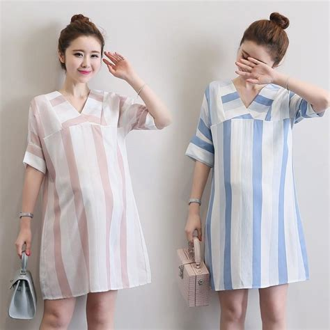Maternity V Neck Sleeve Dress vertical stripes pregnancy clothes casual dress