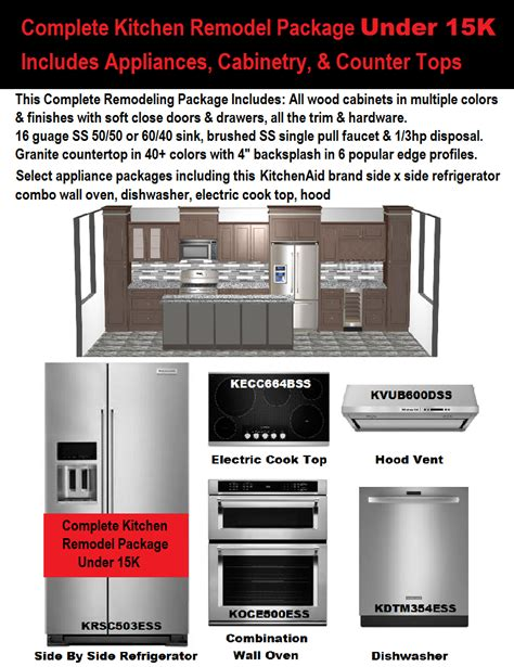 Complete Kitchen Cabinet Packages Complete Kitchen Remodel Package 15k Kitchen Cabinets Countertops Appliances Flooring