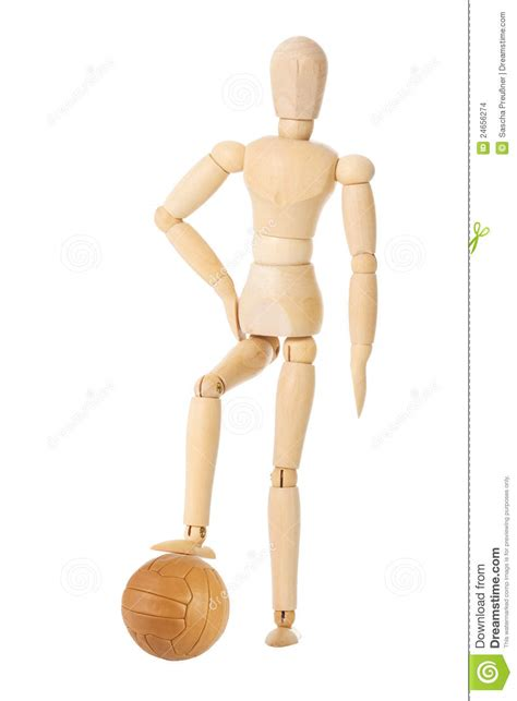 doll wooden wooden doll with soccer stock photo image 24656274