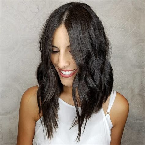 textured lob caramel ombre cena jordan hair angled layered lob women s chic brunette angled wavy