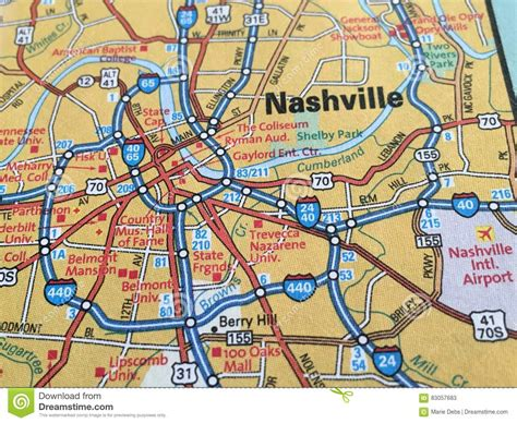 map nashville tn up of a map of nashville tennessee editorial stock