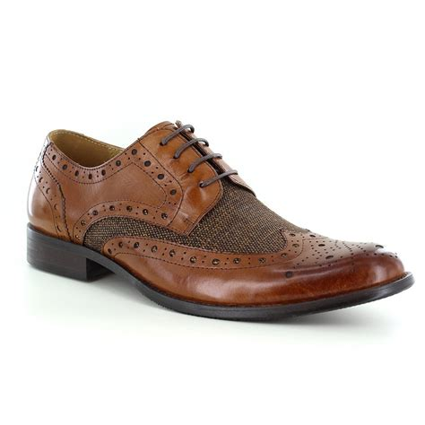 mens brown leather brogue boots paolo vandini naughton mens premium leather tweed brogue
