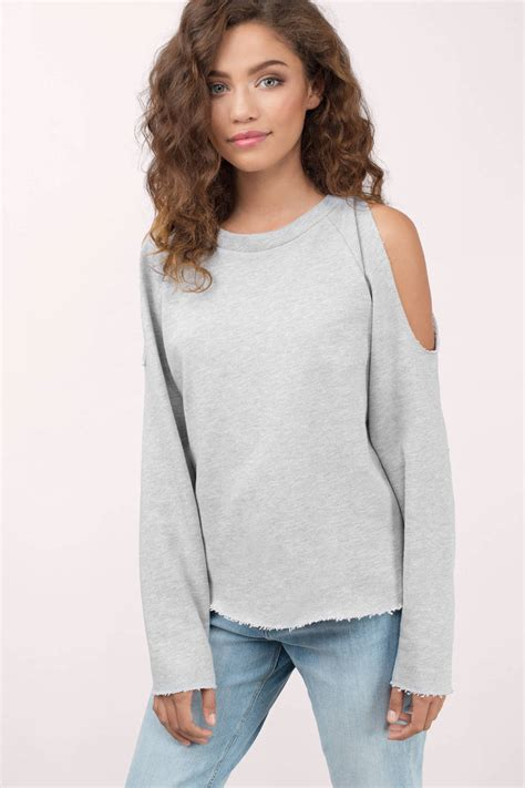 Cold Shoulder Sweatshirt grey sweatshirt cold shoulder sweatshirt 36