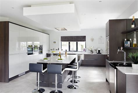 walnut  gloss white contemporary kitchen
