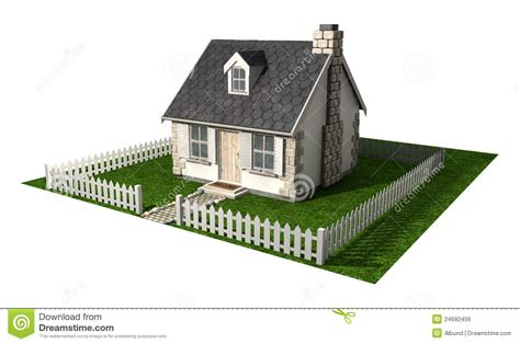 Small Cottage House Plans Quaint Cottage House With Garden And Picket Fence Stock