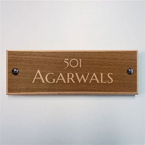 Apartment Name Plates Engraved Wooden Apartment Name Plate