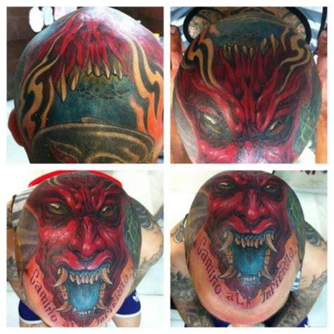 lettering head demon devil tattoo by silvercrane tattoo