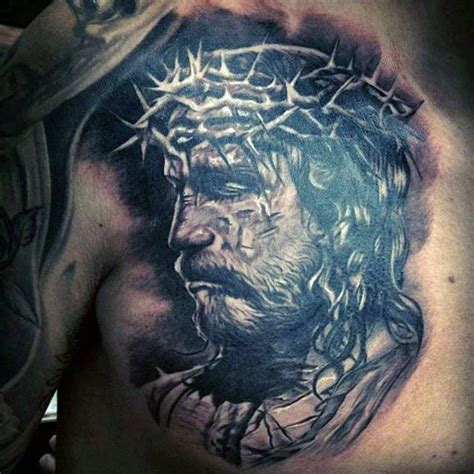 jesus tattoo on chest 100 jesus tattoos for men cool savior ink design ideas