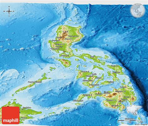 physical map of philippines philippinen physik karte