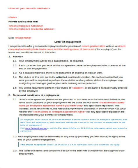 Letter Of Agreement To Work Sle Contract Agreement Letter 9 Exles In Word Pdf