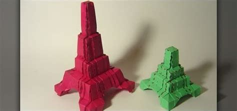 Medium Level Origami - how to fold an intermediate level origami eiffel tower