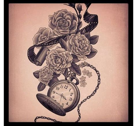 stopwatch tattoo beautiful ash and human skull on