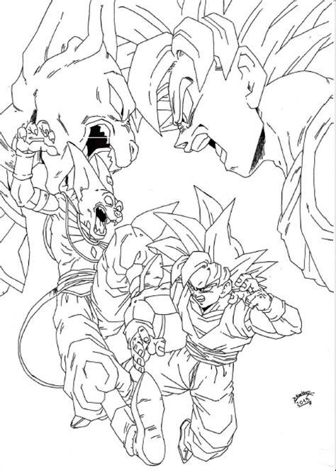 dragonball z battle of gods goku vs bills lineart by