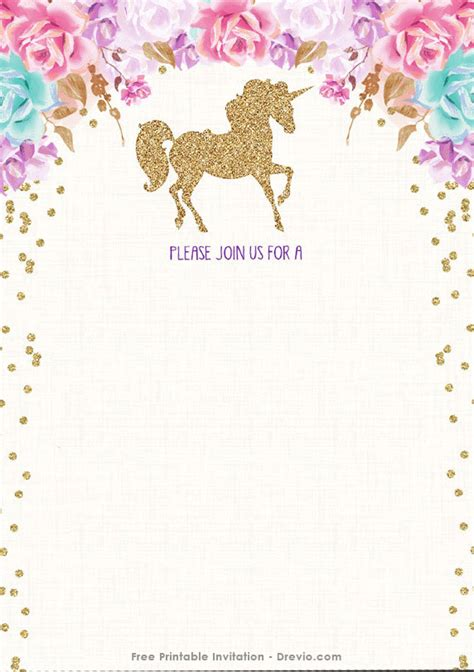 printable birthday cards unicorn free printable golden unicorn birthday invitation template