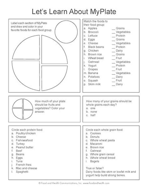 Nutrients Worksheets Activities by My Plate Worksheet Great Way To Interact And Teach