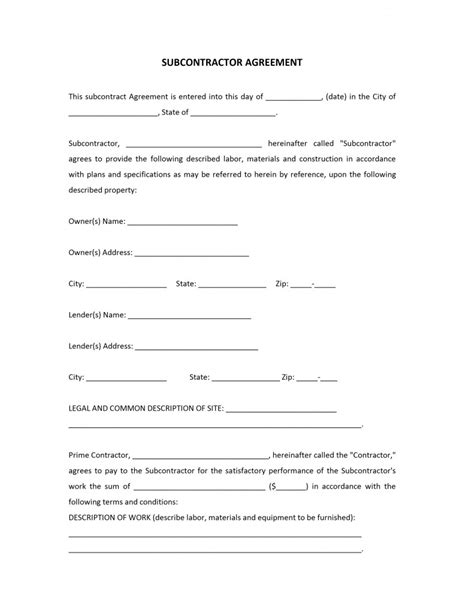 subcontractor agreements template subcontractor form crafts