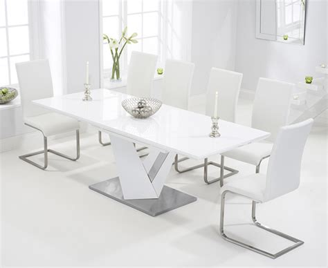 White Extending Dining Table And Chairs Harmony 160cm White High Gloss Extending Dining Table With Malaga Chairs The Great Furniture