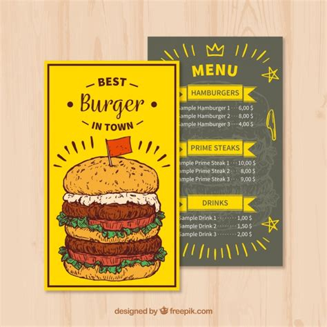 Fast Food Menu Template by Fast Food Menu Template In Style Vector Free
