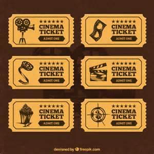 cinema tickets in retro style vector premium download