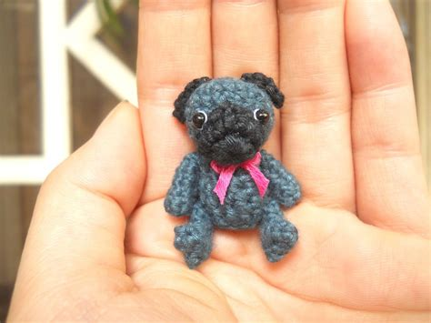 miniature black pug mini crochet black pug teeny tiny dollhouse miniature