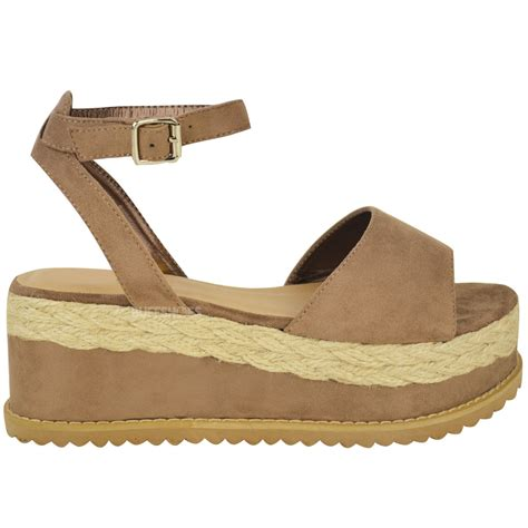 womens flatform sandals new womens chunky espadrille strappy sandals