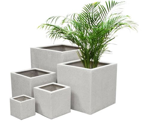 white poly terrazzo cube planter  sizes indoor outdoor
