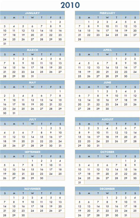 download long term 2010 2019 yearly calendar with monthly