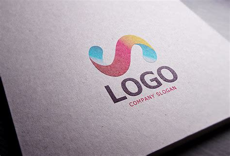 mockup design logo realistic paper logo mockup