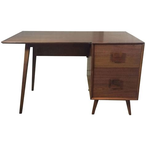 Single Pedestal Desk by Mid Century Modern Walnut Single Pedestal Desk At 1stdibs