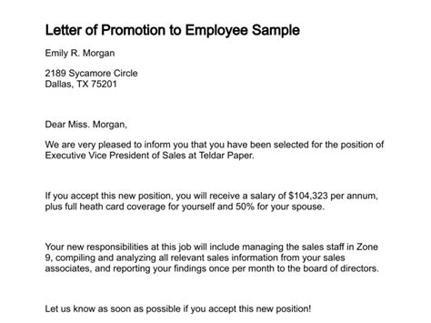 Promotion Letter Format To Employee Letter Of Promotion