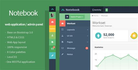 Notebook Web App And Admin Template By Flatfull Themeforest Web Application Templates