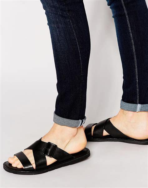 aldo sandals mens aldo sangha leather buckle sandals in black for lyst