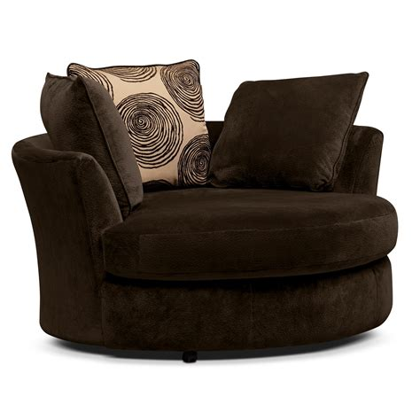 chocolate 2 pc living room w swivel chair furniture
