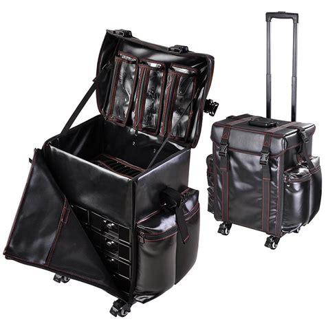 Cosmetic Bag Make Up Organizer Set oxford pu rolling makeup vanity trolley bag