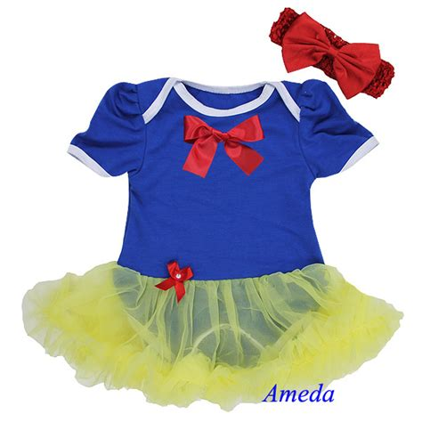 aliexpress buy baby snow white princess costume royal blue yellow bodysuit pettiskirt