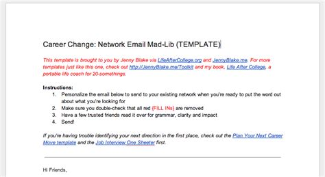 In The Midst Of A Major Career Change Modify This Email Template And Send It To Your Network College Email Template