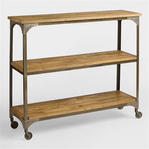 sofa table with shelf wood and metal aiden 3 shelf console table world market