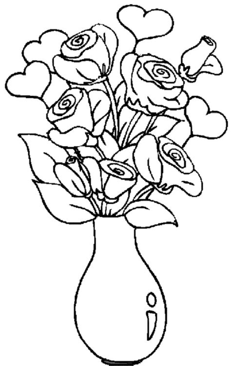 coloring pages of vase with flowers free printable flower coloring pages flowers in vase