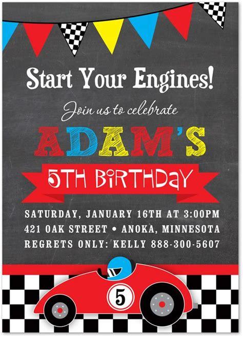 Boy Birthday Invitation Card Template by Boy Birthday Invitations Race Car Chalkboard Birthday