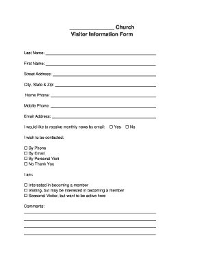 church visitor card template generator church visitor form pdf fill printable fillable