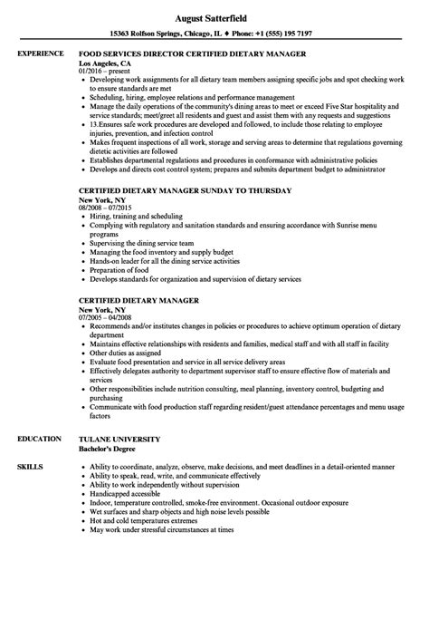 certify letter for director certified dietary manager sle resume letter of