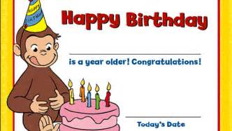 curious george birthday ideas birthday certificate pbs parents pbs