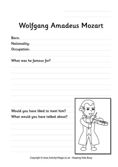 mozart biography questions mozart worksheet