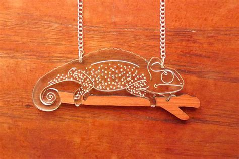 how to make laser cut acrylic jewelry chameleon necklace laser cut acrylic necklace by hellododoshop