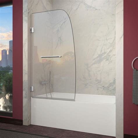 Frameless Tub Glass Doors Dreamline Aqua Uno 34 In X 58 In Frameless Pivot Tub Door In Brushed Nickel Shdr 3534586 04