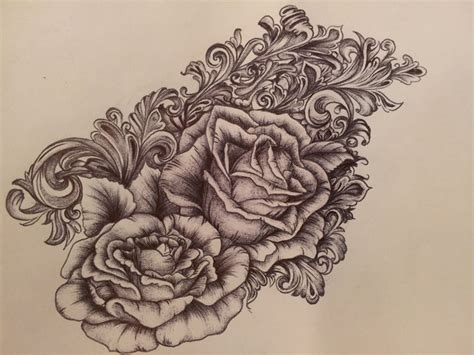 victorian scrollwork amp roses tattoo tattoo placement