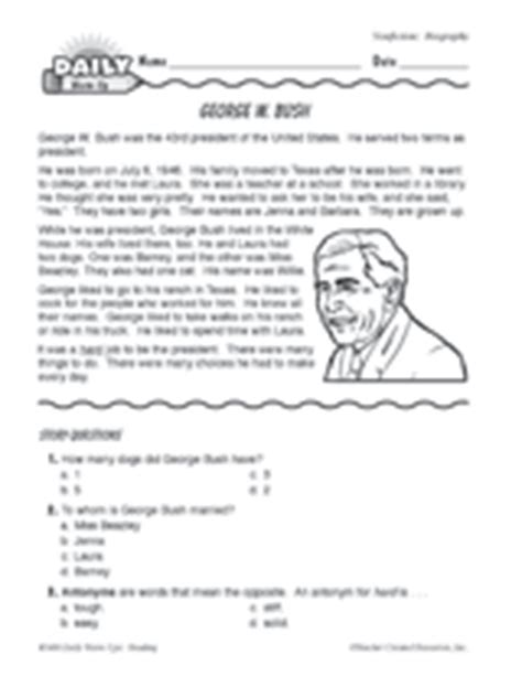 christopher columbus biography for 4th grade george w bush biography printable reading warm up
