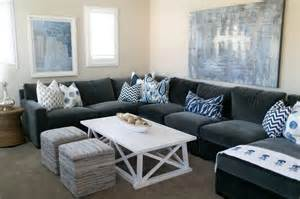 Grey And Blue Sofa Blue Living Rooms Contemporary Living Room