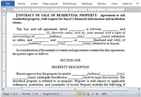 residential property sale contract form  word