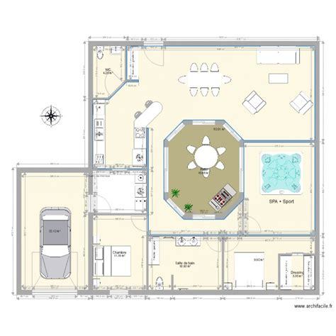 plan maison patio central maison avec patio central plan 8 pi 232 ces 160 m2 dessin 233